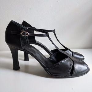 Franco Sarto Peep Toe T-Strap Heels / 9.5